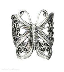 Sterling Silver Butterfly Filigree Ring Auntie's Treasures. $56.97