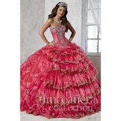 >> Click to Buy << Palace Basque Pickups Quinceanera Dresses Hot Pink Lace Appliques Tiered Front Debutante Dress Party Vestido de quinceanera 2016 #Affiliate