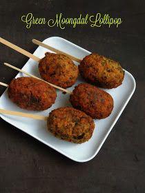 Vegan Whole Moongdal Lollypop/Green Moongdal Lollipop. - Recipes For You Vegetarian Starters, Vegetarian Snacks, Savory Snacks, Easy Snacks, Toddler Snacks, Healthy Snacks, Healthy Indian Recipes, Veg Recipes, Spicy Recipes