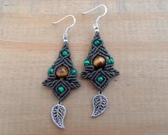 Malachite macrame earrings macrame jewelry micro par SelinofosArt