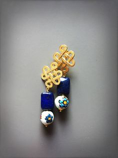 Sicilian Earrings with lapis lazuli stones and ceramic from Caltagirone stones LesJoliesDePanPan su Etsy