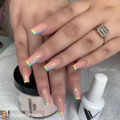 In summer I always like to wear a lot of color on my nails. Not only on my nails but my clothing too haha. So these super cool nails are perfect for upcoming spring and summer. They are colorful but… Aycrlic Nails, Swag Nails, Manicure, Coffin Nails, Kylie Nails, Fire Nails, Best Acrylic Nails, Summer Acrylic Nails Designs, Fake Nail Designs