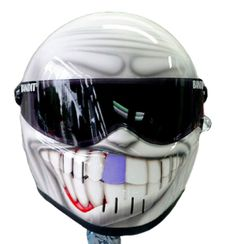 White smiley motorcycle helmet with one bluetooth