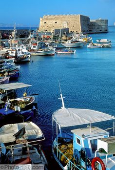 Emmy DE * Heraklion, Crete, Greece: Venetian Fortress, Old Harbor boats.