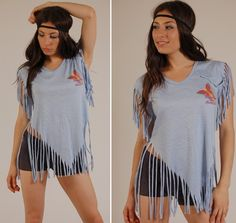 This little retro tee is too cute! Classic 80s style cut up fringe tee shirt! Super soft blue cotton blend with adorable butterfly on chest and