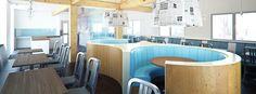 Fish and chip restaurant by design team Studiopublic. Photo Credit: www.studiopublic.co.uk #restaurantinteriordesign #restaurantinteriors #fishandchips