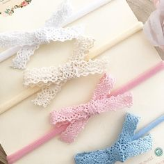Lace Crochet Small Hand tied Bow Hand tied Floral Bow Lace