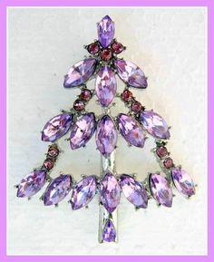 Vintage Style Purple Crystal Rhinestone Silver Christmas Tree Pin Brooch | eBay