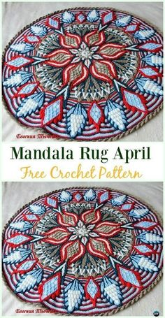 Crochet Mandala Rug April Free Pattern - Area Ideas Free Patterns by Michele L Collura 10 DIY Crochet Area Rug Ideas with Free Patterns: for dinning room, living room, bedroom or even as kitchen mat, a great addition to interior decor, Motif Mandala Crochet, Mandala Rug, Crochet Rug Patterns, Crochet Squares, Crochet Motifs, Knitting Patterns, Afghan Patterns, Crochet Crown Pattern, Double Crochet