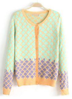 Green Yellow Long Sleeve Plaid Knit Cardigan US$32.62