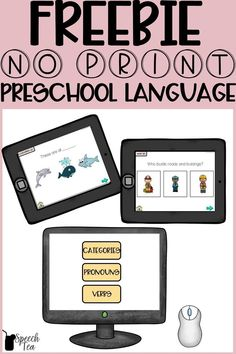 This free no print speech therapy resource includes both expressive and receptive language targets for categories, pronouns, and verbs. Perfect for teletherapy, parent carryover, and a tool for your speech room. This interactive PDF requires no app! Simply click language targets. This free speech therapy activity is completely no prep. Click for more info.