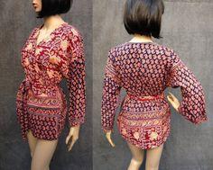 60's Bagru Boho Bohemian Guru Wrap Tunic Shirt by ElkHugsVintage