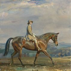 'Portrait of Mrs Margaretta Park Frew Riding', by Sir Alfred James Munnings.