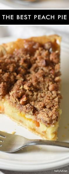 Sour Cream Peach Pecan Pie - fresh peaches, pecans, and a streusel topping make this the best peach pie and the perfect summertime dessert! (Peach Dessert Recipes)