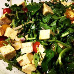 Salmon, tofu, water cress salad
