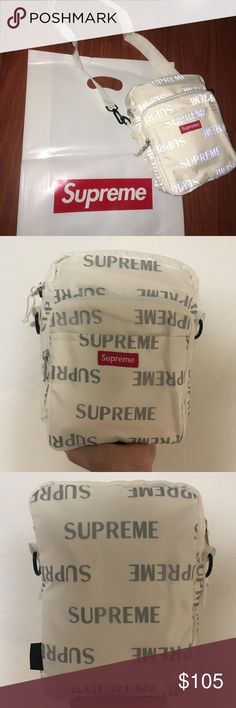 088d438aab Supreme White 3m Shoulder Bag Brand new condition is 10 10 Will ship the  next day Free shipping Bag is 3m reflective! Supreme Bags Shoulder Bags