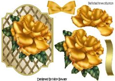 Pretty gold rose with bow on lattice frame on Craftsuprint designed by Nick Bowley - Pretty gold rose with bow on lattice frame, makes a pretty card, can b e seen in other designs - Now available for download!