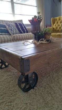 Factory Cart Industrial Coffee Table by ArcherHomeDesigns on Etsy