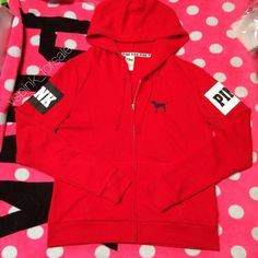 VS PINK Full-zip Hoodie New in online packaging. Slim fit. PINK logo.  No trades. I have this listed for less on Ⓜ️ercari Use code FWXENR when you sign up for $2 off first purchase  Search vspink_forsale to find my closet  PINK Victoria's Secret Sweaters