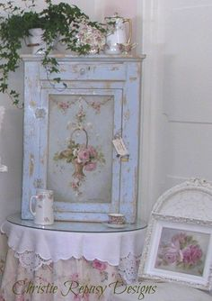 french shabby chic baskets | Original french basket on cabinet