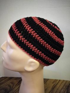 Red and black center kufi beanie skullcap crochet medium by Nadeerah on Etsy