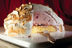 Baked Alaska.  Can use any ice cream.  Even easier recipe here: http://www.food.com/recipe/simple-baked-alaska-13046