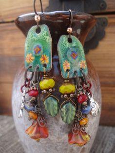 Garden Charm Earrings Enameled Copper Earrings by FeminineGenius