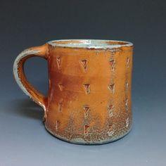Ron Philbeck Coffee Mug. Textured Pattern. Soda Glazed Pottery (#1)