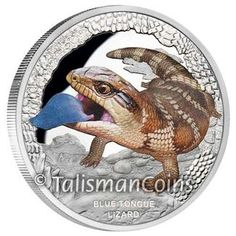 Tuvalu 2015 Australia's Remarkable Reptiles #3 - Blue Tongue Lizard or Blue Tongued Skink $1 Pure Silver Dollar Proof with Color P03