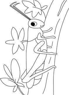 Grasshopper Coloring Pages