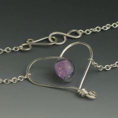 Beautiful!   Purple Heart Necklace, Sterling Silver Wire Jewelry.