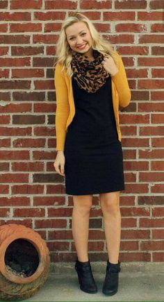 Liven up a little black dress with a mustard cardigan & a fun leopard print scar. Liven up a little black dress with a mustard cardigan & a fun leopard print scarf. Just add booties for cute look for fall. Little Black Dress Outfit, Black Dress Outfits, Casual Outfits, Black Booties Outfit, Dress Black, Dress Casual, Dress Boots, Brown Dress, Mode Outfits