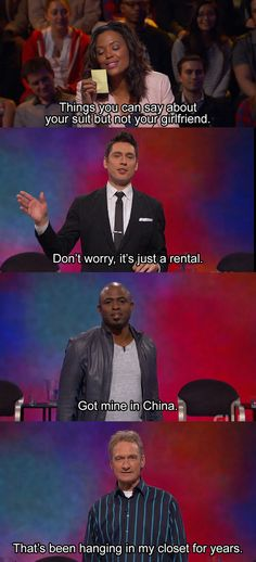 "When the guys proved suits were not girlfriends. | Community Post: 20 Times ""Whose Line Is It Anyway?"" Was The Greatest Show On TV"