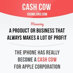 """Cash cow"" is a product or business that always makes a lot of profit. Example…"