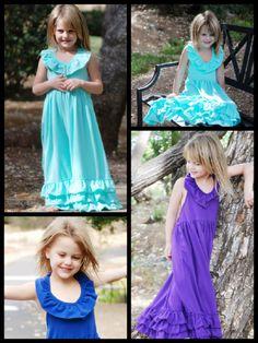 Girls Purple Summer Dress // Halter Top Maxi // Beach Wedding // Toddler Maxi Dress // Purple Dress // Aqua Dress // Royal Blue Dress