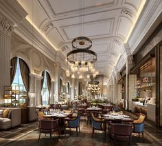 restaurant interior Guarantee you have access to t - Hotel Lobby Design, Luxury Homes Interior, Luxury Home Decor, Classic Restaurant, Flur Design, Restaurant Interior Design, Hospitality Design, Cafe Design, Ceiling Design