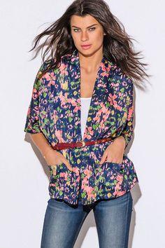 coral floral print navy blue kimono blazer