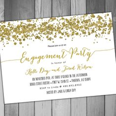 Engagement Party Engagement Invitation Printable Engagement Gold Engagement Gold Glitter Wedding Invitation White and Gold and by CLaceyDesign on Etsy https://www.etsy.com/listing/236222077/engagement-party-engagement-invitation
