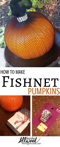 Heres an easy and clever way to decorate pumpkins for Halloween using fishnet stockings and a little bling! More pumpkin and fall DIY projects by Jennifer Allwood Unique Pumpkin Carving Ideas, Funny Pumpkin Carvings, Easy Pumpkin Carving, A Pumpkin, Pumpkin Ideas, Funny Pumpkins, Fall Pumpkins, Halloween Pumpkins, Diy Fall Wreath