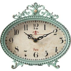 Dot & Bo Parisian Mantle Clock (165 CNY) ❤ liked on Polyvore featuring home, home decor, clocks, inspirational home decor, aqua clock, parisian home decor, oval clock and aqua home decor