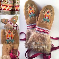 Gorgeous beaded floral mitts by Joanne Seeseequasis Native Beadwork, Native American Beadwork, Native American Art, Beading Ideas, Beading Patterns, Beadwork Designs, Indigenous Art, Aboriginal Art, Native Americans