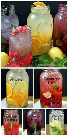 DIY Naturally Flavored Herb and Fruit Water Recipes and Instructions from The Yummy Life here. Lots of tips for making this cheap alternative to soda with simple recipes. citrus blend raspberry lime watermelon rosemary blackberry sage pineapple mint by Smoothie Drinks, Detox Drinks, Healthy Drinks, Healthy Snacks, Healthy Eating, Healthy Recipes, Simple Recipes, Healthy Water, Healthy Detox