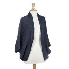 Wholesale navy knit kimono made acrylic One fits most