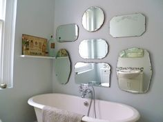 Love mirrors! 1930s mirror display for on the landing wall as you go down the stairs. How to hang frameless mirror display wall