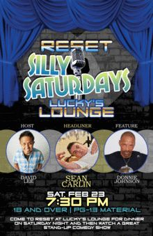 Silly Saturdays - Reset at Lucky's Lounge Las Vegas, NV - Saturday, March 2013 100 tickets donated Comedy Tickets, Las Vegas, March, Lounge, Airport Lounge, Lounge Music, Living Room, Mars, Family Rooms
