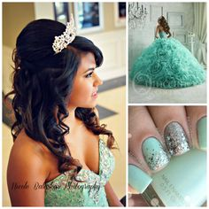 Hairstyle Ideas | Blue Quinceanera Dress | Quinceanera Nail Design |