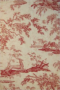 La Chasse Fabric Traditional French burgundy and beige fabric with a deer chase