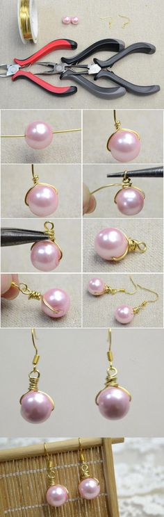 Jewelry Making How to Make Pearl Drop Earrings with Pink Pearls and Golden Wires - Many of you may fancy pink pearls. So today I would like to make a pair of pink pearl drop earrings that are full of femininity and elegance. Wire Wrapped Jewelry, Wire Jewelry, Jewelry Crafts, Beaded Jewelry, Jewelery, Jewelry Ideas, Wire Bracelets, Wire Rings, Jewelry Trends