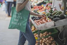 Eco Bag Only Fruits & Veggies Canvas Bag Vegan Vegetarian