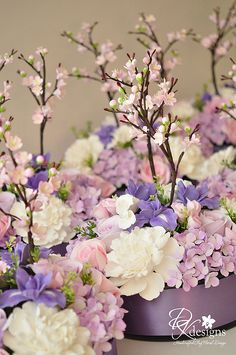 Purple and lavander flowers Funeral Floral Arrangements, Beautiful Flower Arrangements, Beautiful Flowers, Hanging Flowers, Table Flowers, Bridal Flowers, Silk Flowers, Perserving Flowers, Flower Decorations